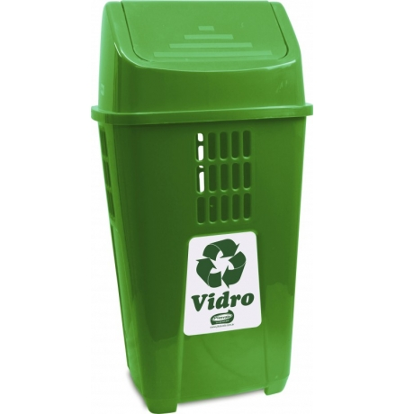 Lixeira Coleta Seletiva Verde Plasvale 50 L