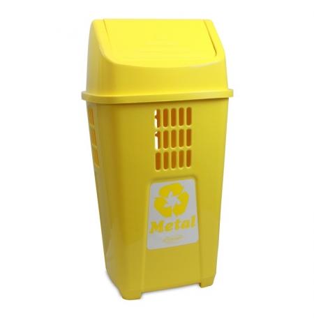 Lixeira Coleta Seletiva Amarela Plasvale 50 L