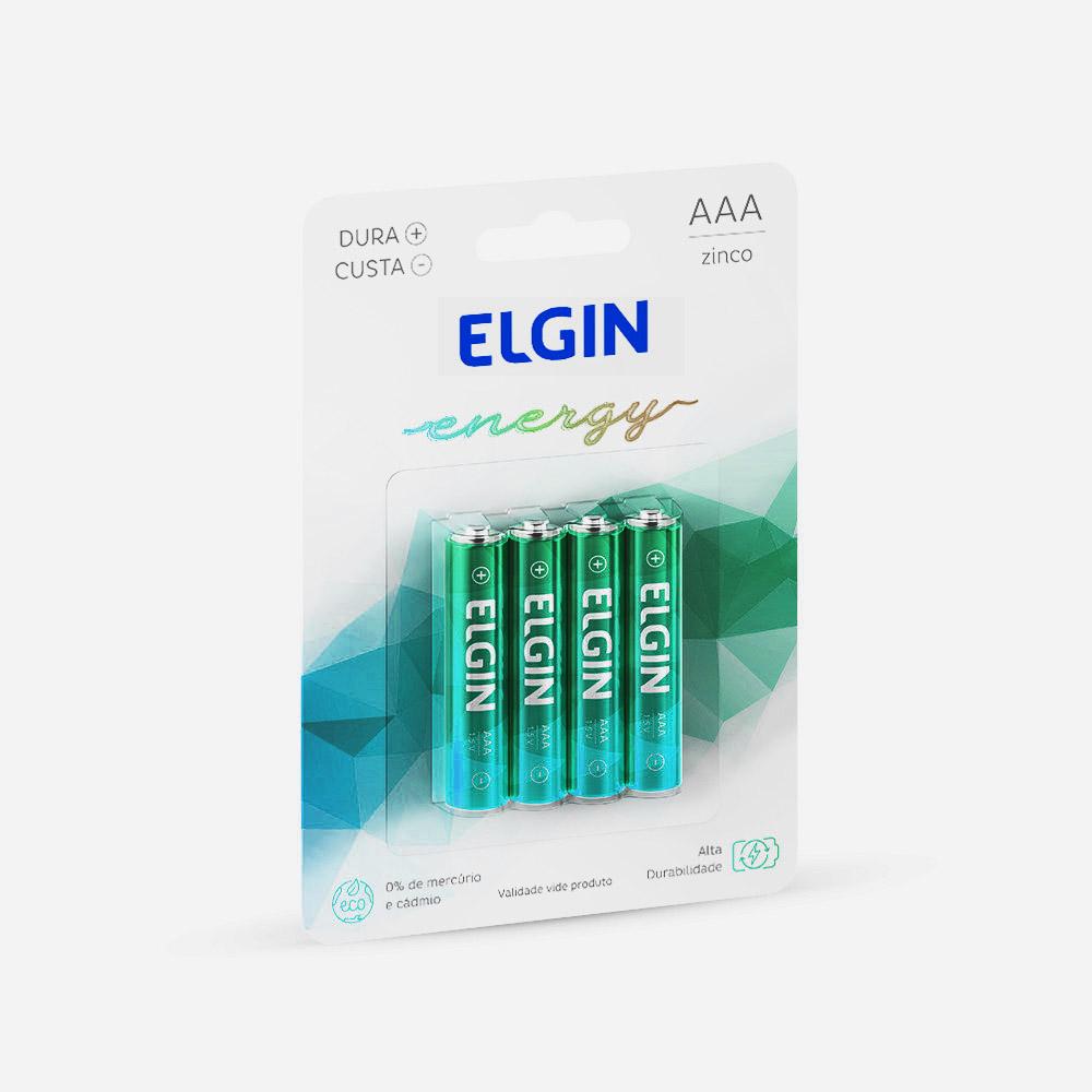 Pilha ALC. Palito AAA Com 4 Elgin